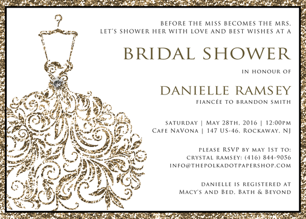 Glitter Gold Wedding Dress Bridal Shower Invitation 0256