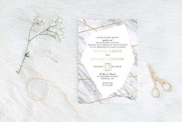 Gold Beams Wedding Invitation 30239