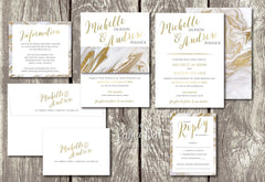 NEW 2018 - Marble-look Belly Band Printed Wedding Invitation 10242