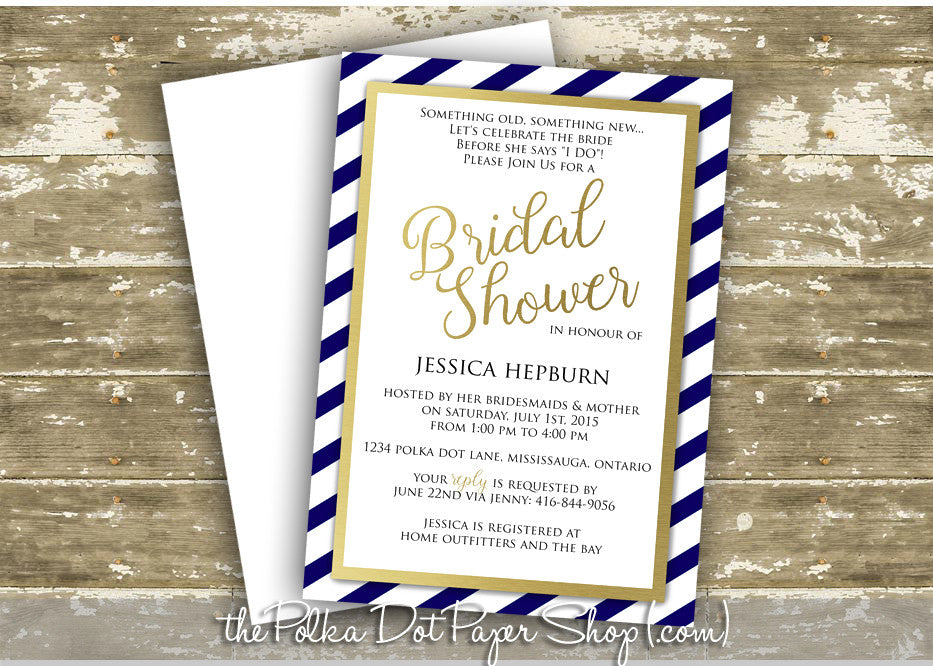 faux foil navy and gold striped bridal shower invitation 0264 the