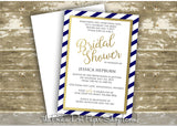 Faux Foil Navy and Gold Striped Bridal Shower Invitation 0264