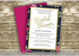 Faux Foil Floral Bridal Shower Invitation 0263