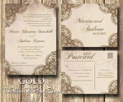 Five Colours to Choose From! Beautiful Lace Detail Printed Invitation 0227