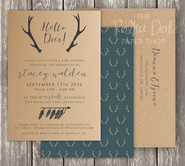 Rustic Deer Baby Shower or Birthday Party Invitation 0417