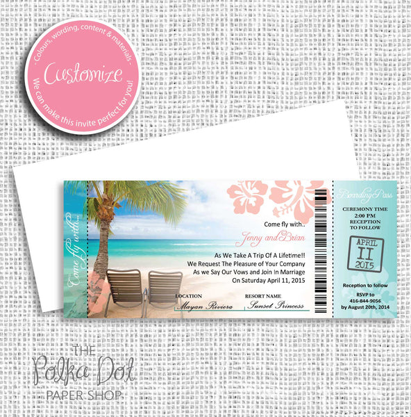 Boarding Pass Destination Wedding Invitation 0469