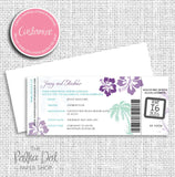 Custom Boarding Pass Wedding Invitation with Travel Information Sleeve 0302