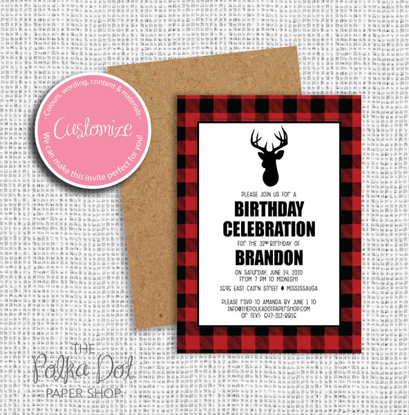 Hunter Deer Adult Birthday Party Invitation 54808