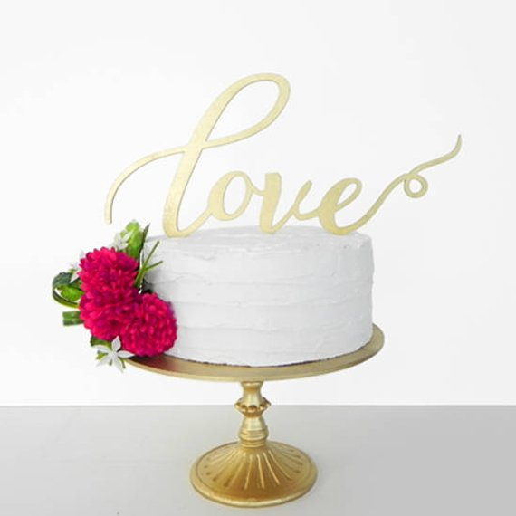 Calligraphy Love Cake Topper 7219
