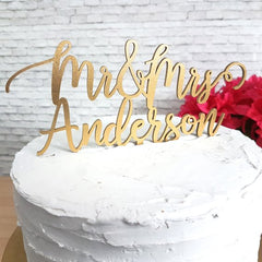 Mr & Mrs Script Custom Name Cake Topper 7226