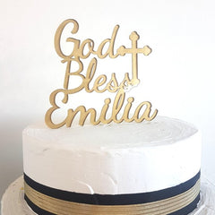 God Bless Baptism Custom Name Cake Topper 7227