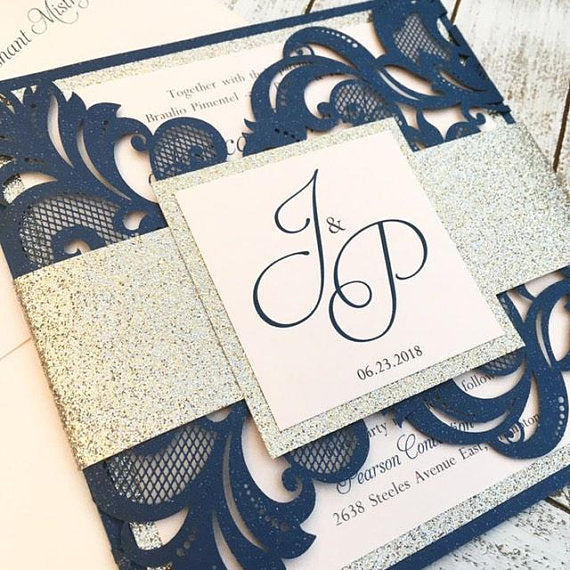 Elegant Navy, Gold and Blush Gatefold Laser Cut Wedding Invitation with Belly Band #54756