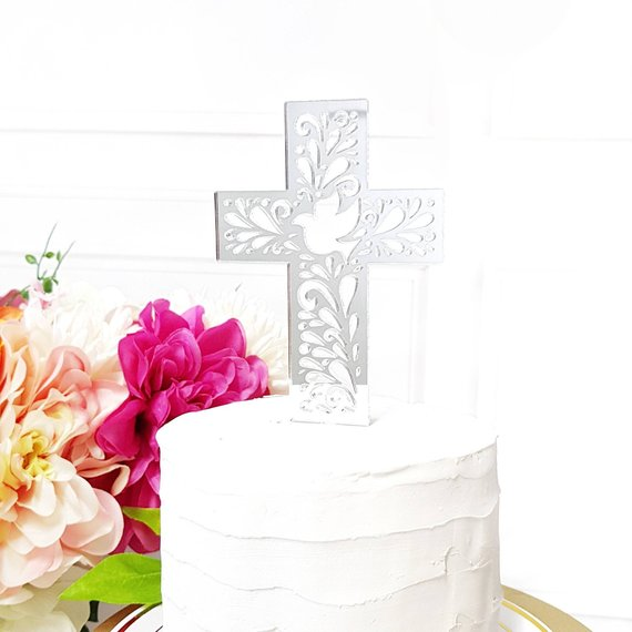Baptism Cross Cake Topper 7233
