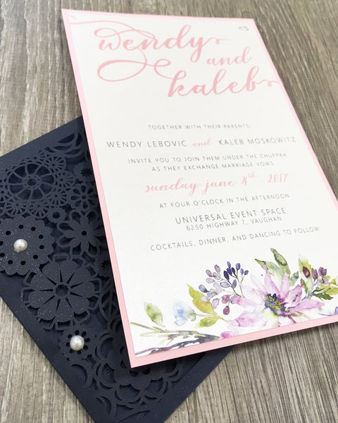 Pocket full of Posies Flower Laser Cut Pocket Wedding Invitation 0658