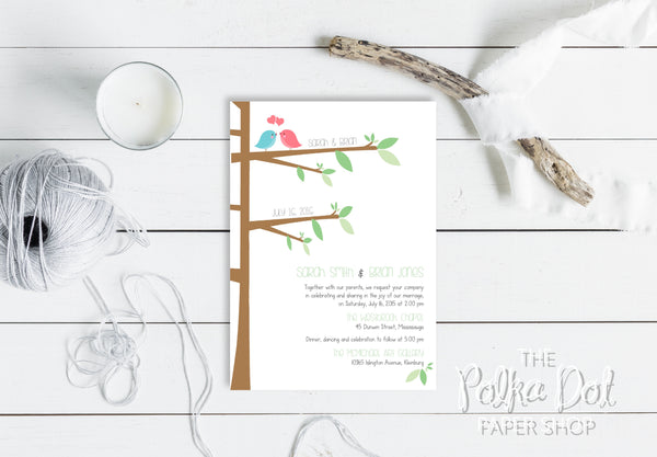 Cute Lovebirds Wedding Invitation 0221