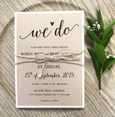 "Rustic ""We Do"" Flat Card belly band Invitation 6385"