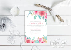 Blushing Spring Bouquet Wedding Invitation 10239