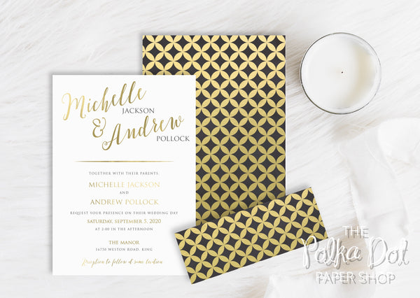 Mod Circles and Stripes Belly Band Printed Wedding Invitation 10243