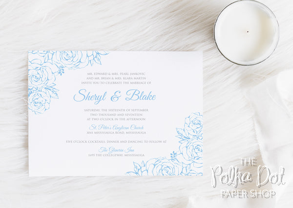 Lace Flowers Wedding Invitation 10247 Powder Blue and Grey