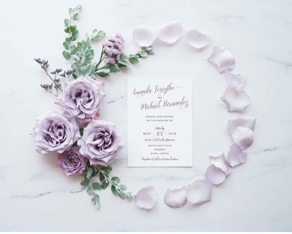 Modern Calligraphy Wedding, Bridal Shower or Party Printed Invitation Suite 26479