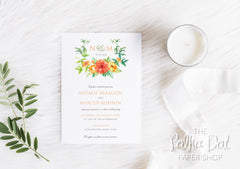 Sunshine Florals Bouquet - Floral Printed Wedding Invitation 10240