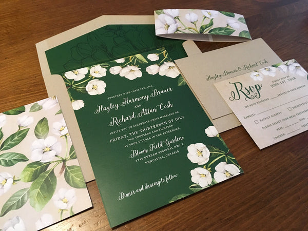Spring Floral Luxury Flat Card Wedding Invitation with Liner 495976