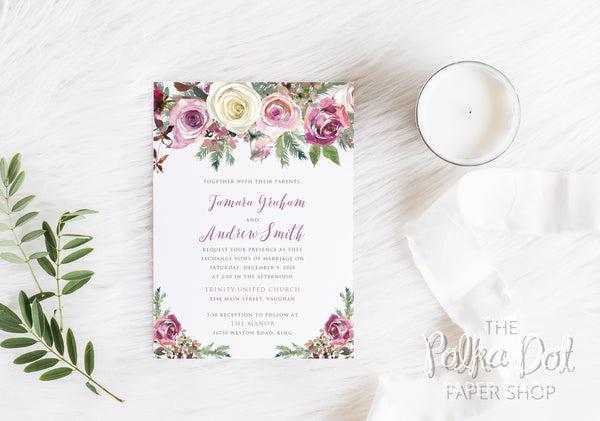 Frosty Roses Winter Wedding Invitation 10246