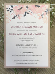 Soft Blush and Navy Pocket Card Invitation 63898