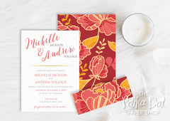 Boho Peonies Belly Band Wedding Invitation 10241