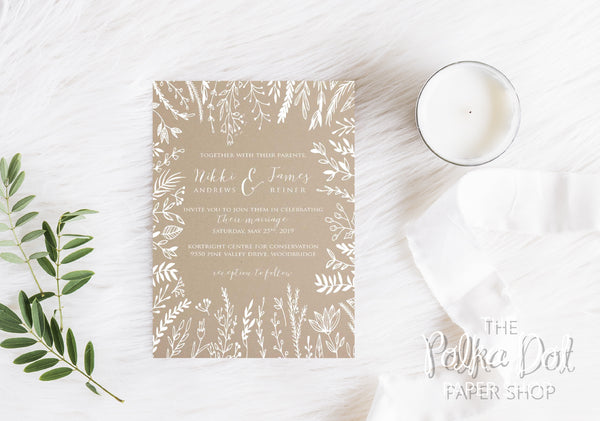 Whispy Willows Wedding Printed Invitation Suite 1202
