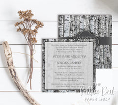 Winter / Fall Collection: Modern Winter Birch Tree Wedding Invitation 0226