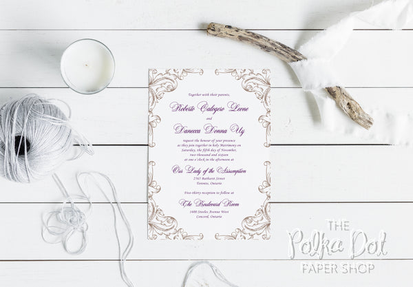 Elegant Plum and Gold Wedding Invitation 8542