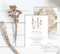 For the Love of Marble Wedding Invitation 10235