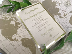 Travel Themed Kraft and Gold Foil Gatefold Wedding Invitation with Belly Band #586879