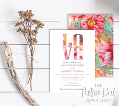 For the Love of Flowers Double Sided Wedding Invitation 10234