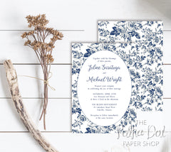 French Toile Wedding Invitation 0166