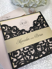 Elegant Monogram Bellyband Laser Cut Pocket Wedding Invitation 16593