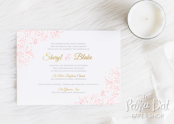 Lace Flowers Wedding Invitation 10247 Blush and Gold
