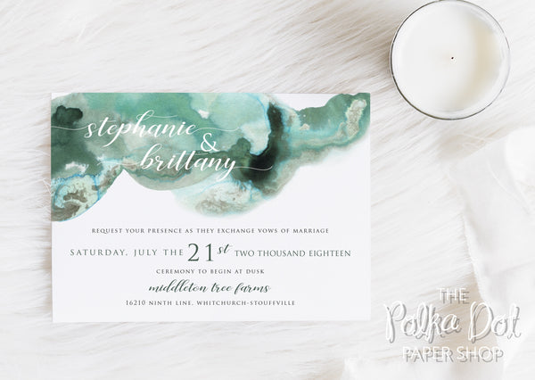 Ink Flow Wedding Invitation 66885
