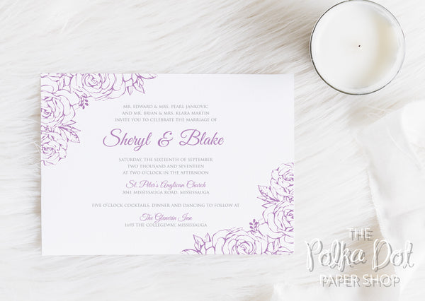 Lace Flowers Wedding Invitation 10247 Lavender and Grey