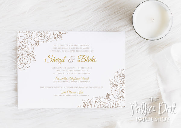 Lace Flowers Wedding Invitation 10247 Taupe and Gold