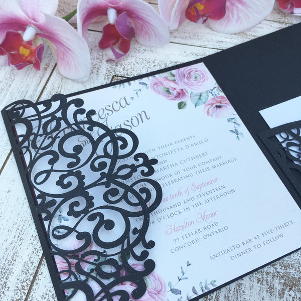 Floral Laser Cut Pocketfold Wedding Invitation #157858