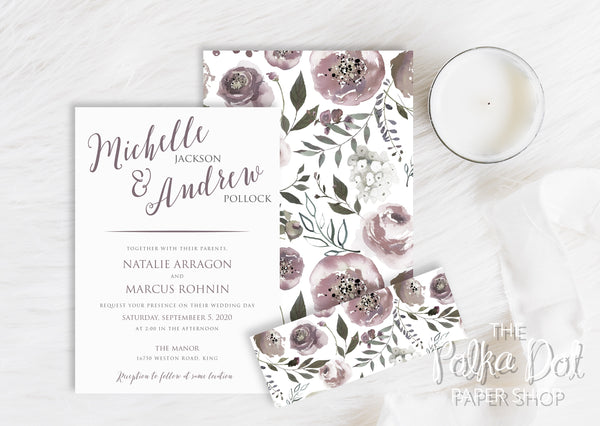 Amethyst Bouquet - Double Sided Belly Band Wedding Invitation 10238