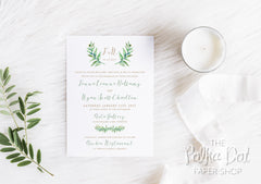 Watercolour Olive Branch Design Wedding Invitation 197a