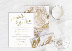 Marble-look Belly Band Wedding Invitation 10242