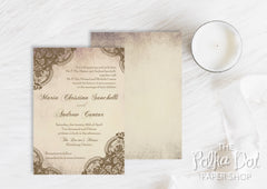 Lace Detail Wedding Invitation 0227