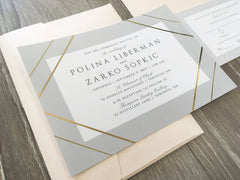Modern Geometric (Gold or Silver Foil) Wedding Invitation flat card Suite 84753