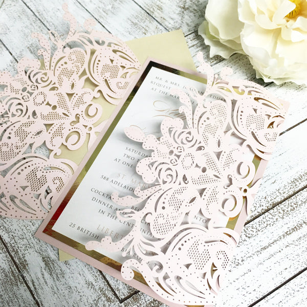Gold Foil, pink and White Gatefold Laser Cut Wedding Invitation #25102