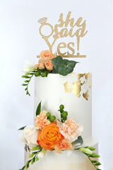 She Said Yes Cake Topper 7218