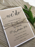 "Rustic ""We Do"" Wedding Invitation 6385"