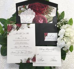 Moody Floral Luxury Flat Card Wedding Invitation with Liner 495975